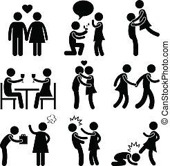 paar, umarmung, liebe, vorschlag, liebhaber