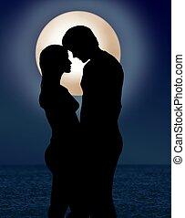 Paar unter Mondschein-Romanze