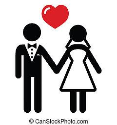 paar, verheiratet, wedding, ikone