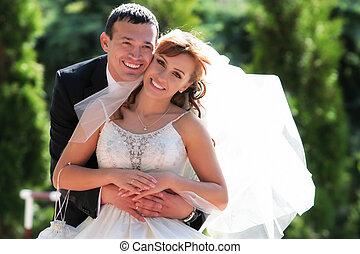 paar, wald, wedding