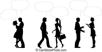 Paare mit Dialogballons