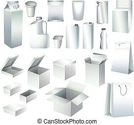 Packe Kartons und Flaschen-Schriften