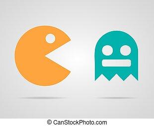 Pacman, Geister, 8bit Retro-Farb-Icons gesetzt. Vector Illustration. EPS 10