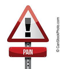 Pain Road Schild Illustrationen.
