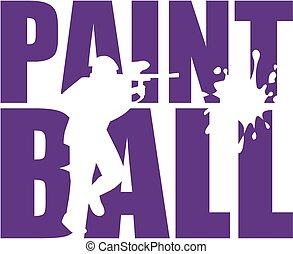 Paintball Wort mit Silhouette Cutout.