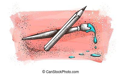 painted., künstler, bleistift zeichnen, wasserfarbe bürste
