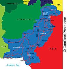 pakistan, landkarte