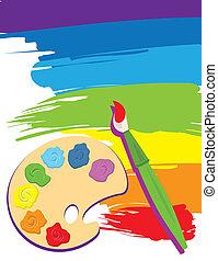 Palette, Pinsel und Leinwand
