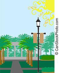 Palm-Tree-Lampe-Post sonnig