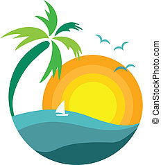 palme, sonnenuntergang, ansicht