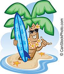 Palme und Surfbrett