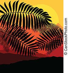 Palmen tropischer Sonnenuntergang mysteriöser Vektor Hintergrund.