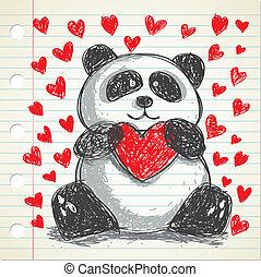 Panda Doodle mit Herz.