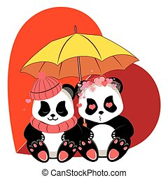panda, karikatur, herz