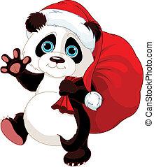 Panda mit einem Sack voller Geschenke.
