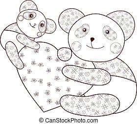 Panda mit Herz-Kid-Farben Buch Seite. Braune Umrisse.