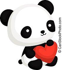 Panda mit Herzkissen.