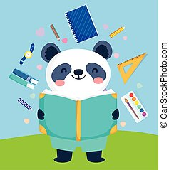 panda, reizend, lesende , zurück, bildung, buch, schule
