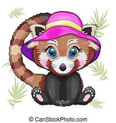 panda, sommer, begriff, rotes , urlaub, rosa, hut, m�dchen