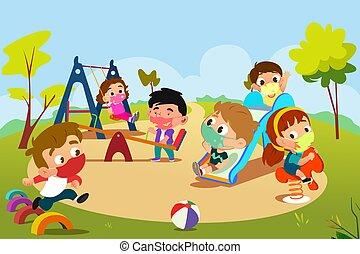 pandemisch, spielplatz, spielende kinder, abbildung, während