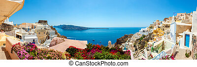 Panorama von Oia Dorf, santorini Insel.