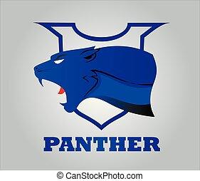 Panther Kopf auf Schild.eps