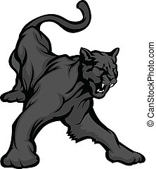 Panther Maskottchen-Körpervektorbild