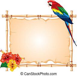 Papagei und Bambusrahmen