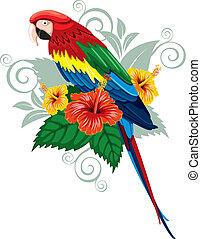 Papagei und tropische Blumen