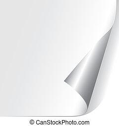 papier, gekräuselt, ecke, (vector)