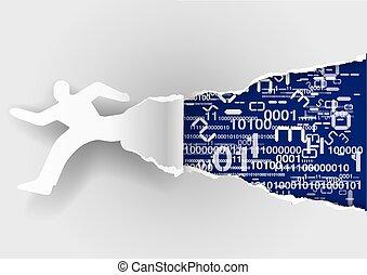 Papier-Läufer mit binären Codes