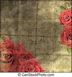 papier, rosen, hintergrund, weinlese, silhouette, schöne