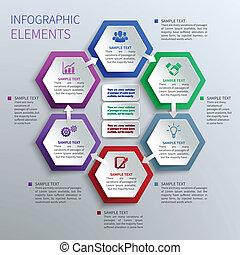 papier, sechsecke, infographics