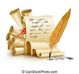 Papier-Skripte mit handschriftlichen Texten und alten Tintenfedern