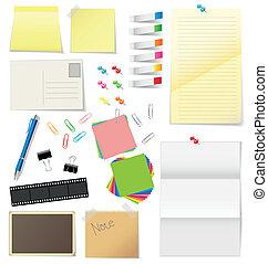 Papier und Büro liefern Vektor.
