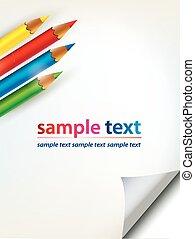 Papierblatt mit Ecke und farbigen Bleistiften.