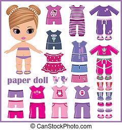 Papierpuppe mit Kleidern