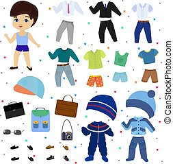 Papierpuppen-Vektorjunge kleidet Kleidung mit Modehosen oder Schuhen illustrieren jugendliche Kleidung zum Schneiden von Kappe oder T-Short isoliert auf weißem Hintergrund.