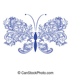 papillon, abstrakt, blumen-