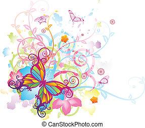 papillon, blumen-, abstrakt, hintergrund