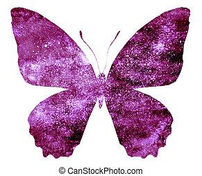 papillon, freigestellt, weißes, blaues