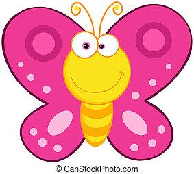 papillon, reizend, zeichen, karikatur