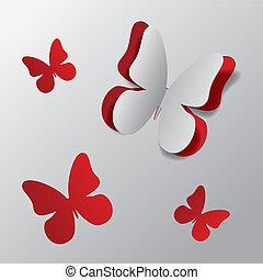 papillon, schneiden papier, heraus