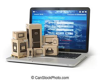 pappkartons, shoppen, e-commerz, appliaces, concept., pc, keyboard., online, laptop, auslieferung