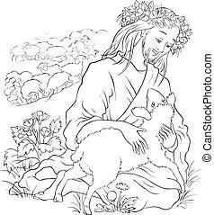 Parable des verlorenen Schafs umrissen