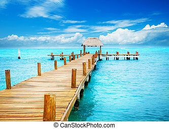 paradise., wendekreis, mujeres, urlaub, landungsbrücke, mexiko, isla