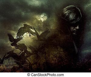 Paranormal, Mann mit langen Haaren und schwarzen Mantel.