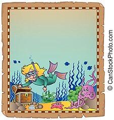 Parchment mit Unterwasser-Thema 2.