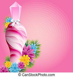 Parfümflasche und Blumen