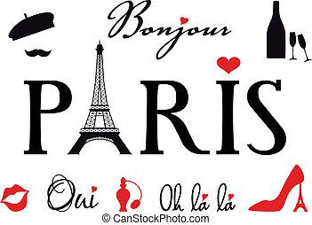 Paris mit Eiffelturm, Vektorset